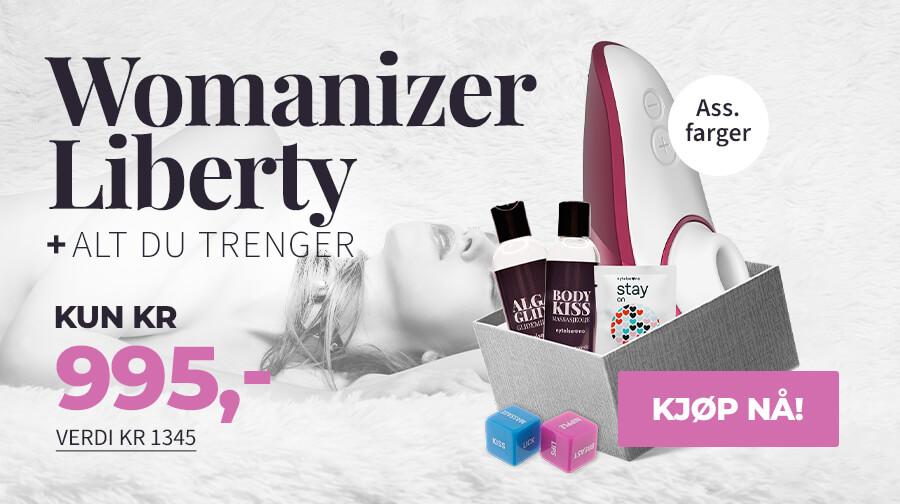 Kjøp Womanizer Liberty og få med tilbehør til en verdi av kr 350 + fri frakt!