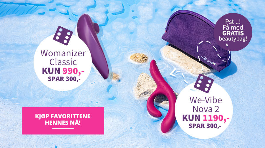 Spar kr 300 på sommerfavorittene Nova 2 fra We-Vibe og Womanizer Classic!