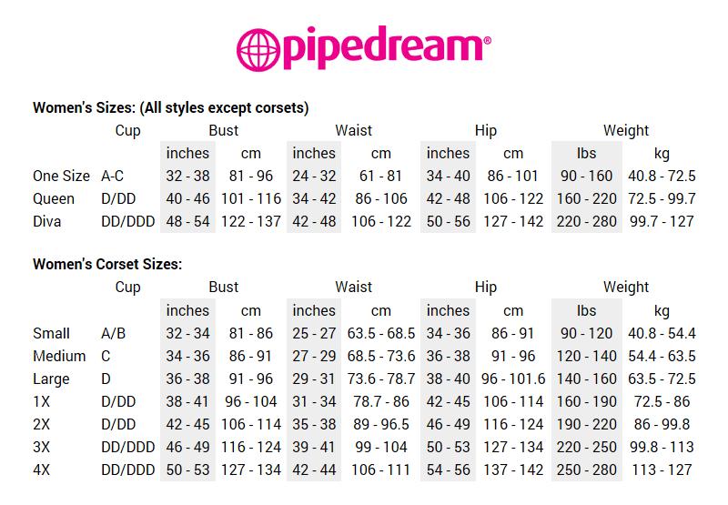 Størrelseskart - Pipedream Products